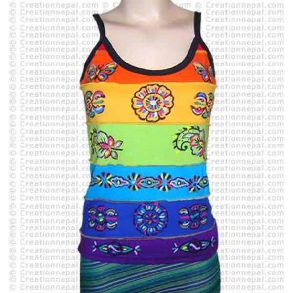 Rainbow hand painted rib t-shirt