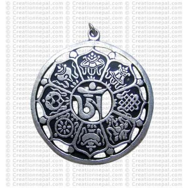Astamangala round pendant