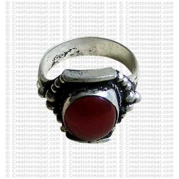White metal Tibetan ring