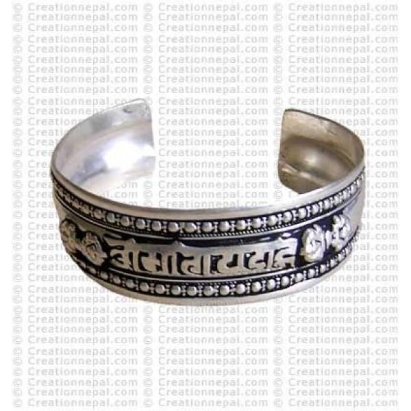 Mantra whitemetal bangle