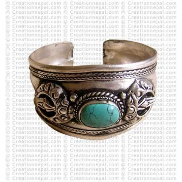 Dorje white-metal bangle