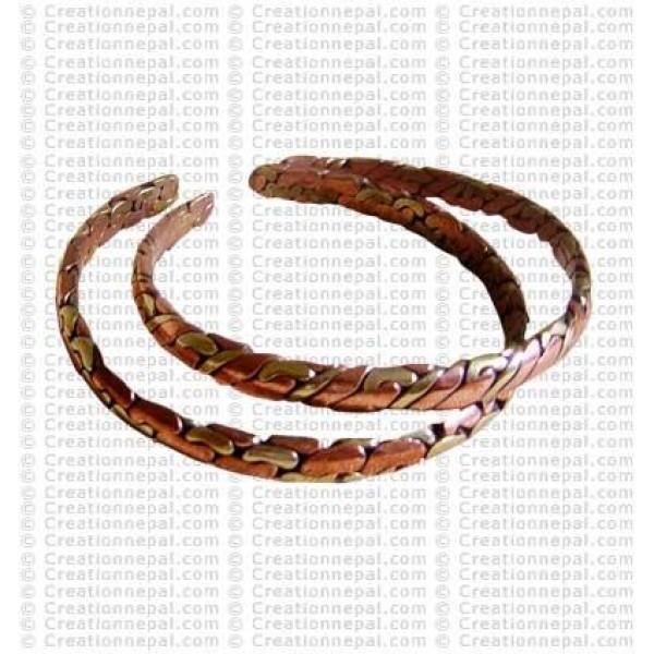 Cupper-brass beaten bangle