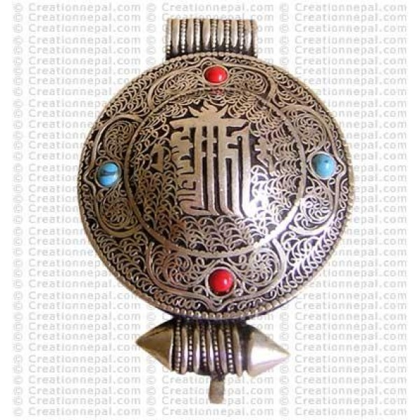 Kalachakra filigree-beads white metal Ghau