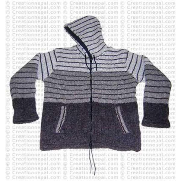 Unique stripes woolen jacket