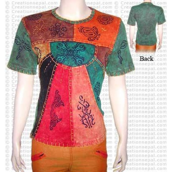 Crochet design multi-prints t-shirt