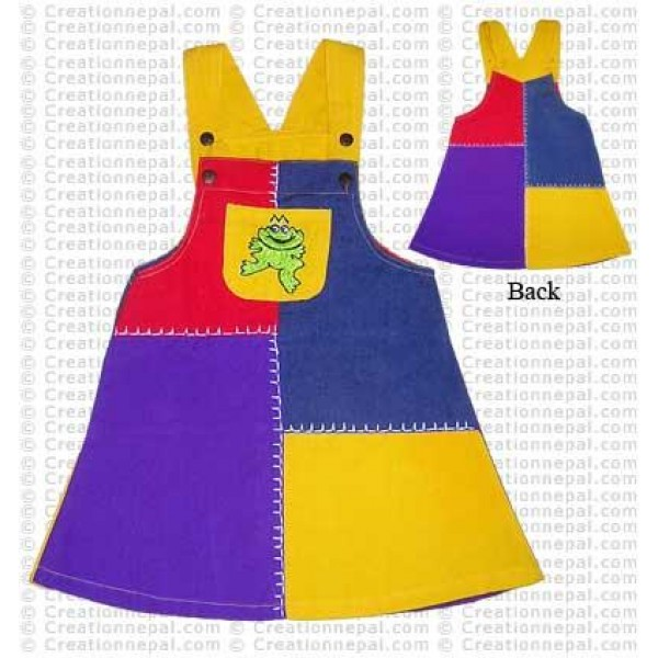 Patch-work kids Dungaree dress