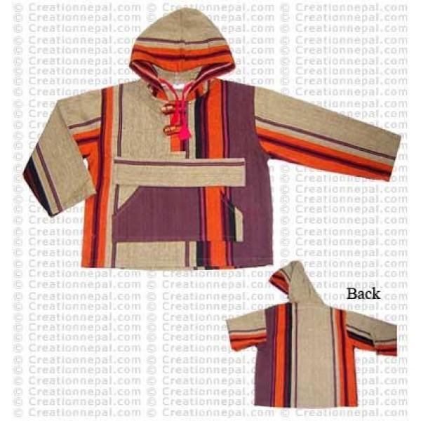 Stripes design kids cotton jacket
