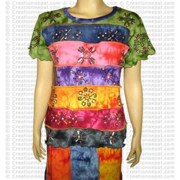 Rainbow tie-dye short sleeves t-shirt