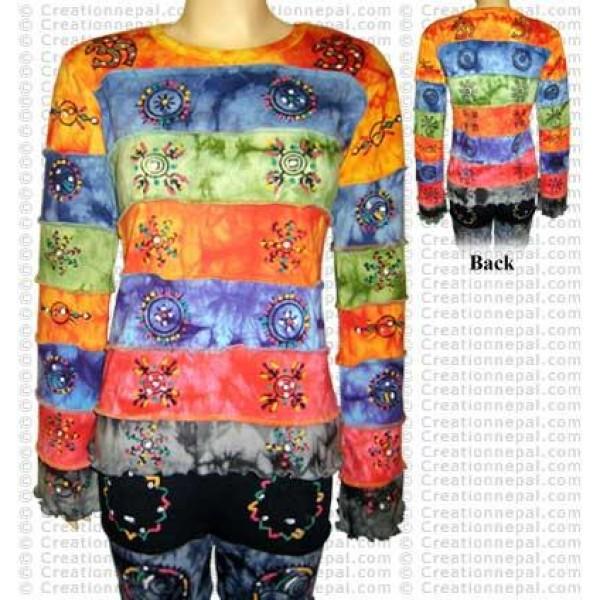 Rainbow tie-dye long sleeves t-shirt