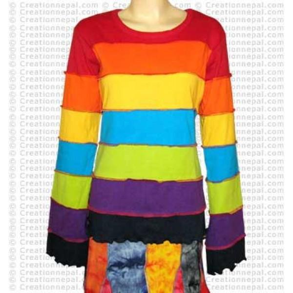 Plain Rainbow stripes long sleeves t-shirt