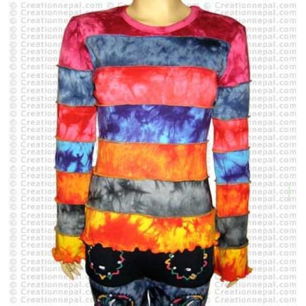 Tie-dye stripes long sleeves t-shirt
