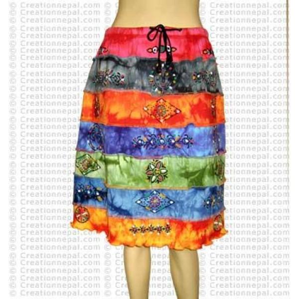 Rainbow tie-dye middle length skirt