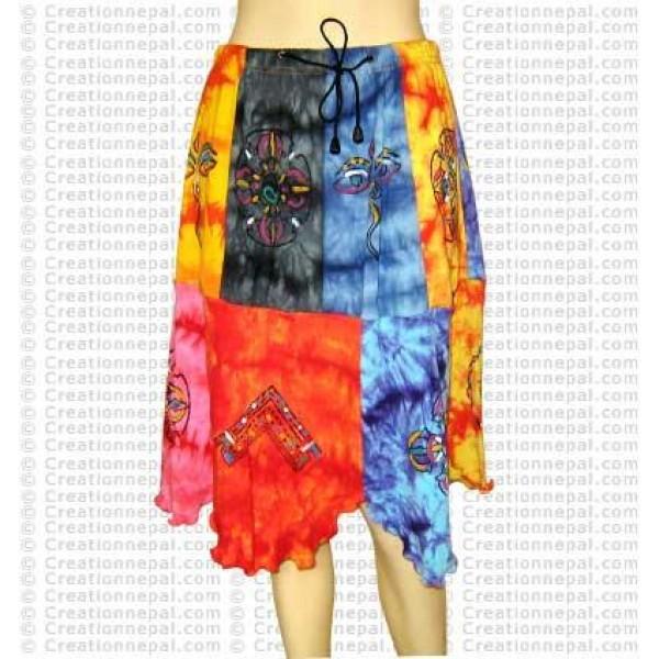 Multiple color tie-dye painted skirt