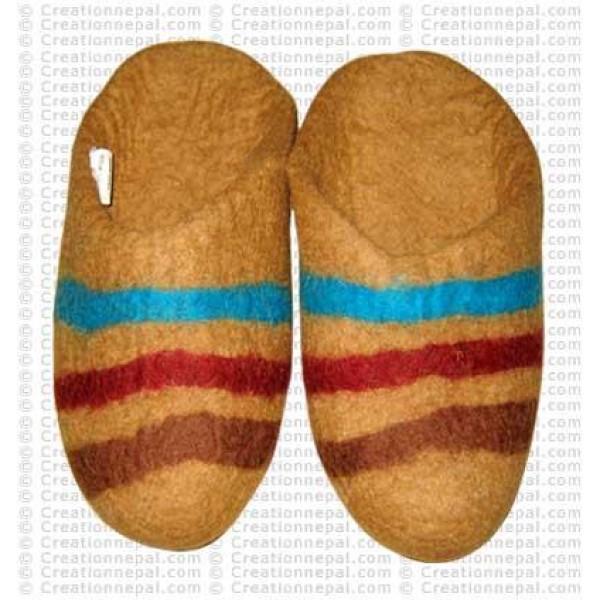Centre stripes felt slipper