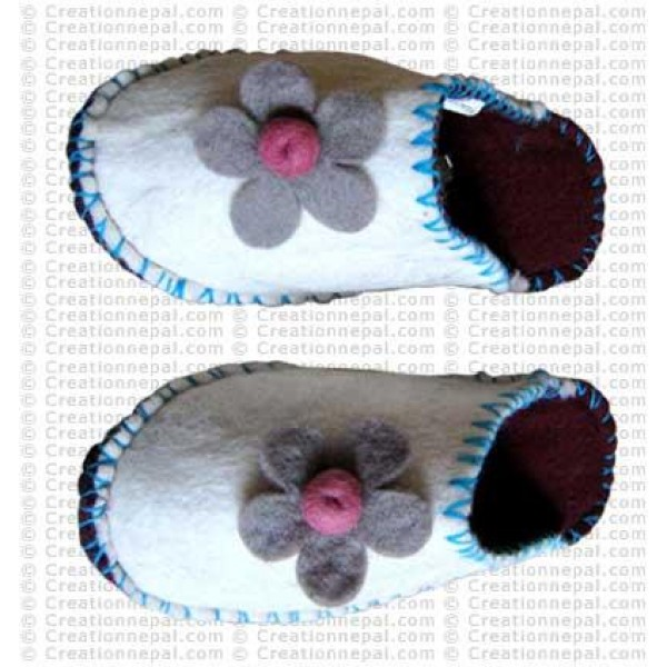 Flower patch crochet slipper