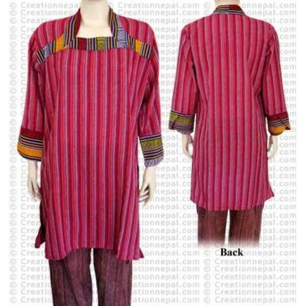Stripes thin cotton long top