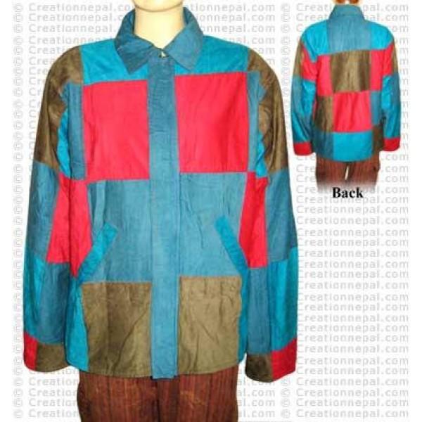 Squares joined design codraise jacket