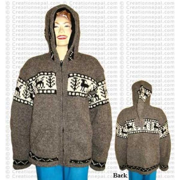 Natural color animal design woolen jacket