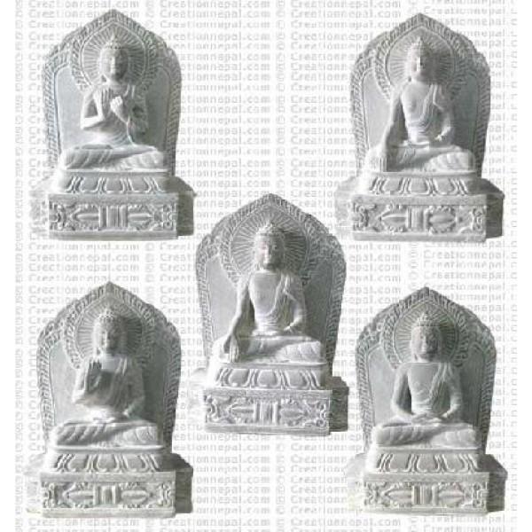 Pancha Buddha - 8'' stone staues (set of 5)