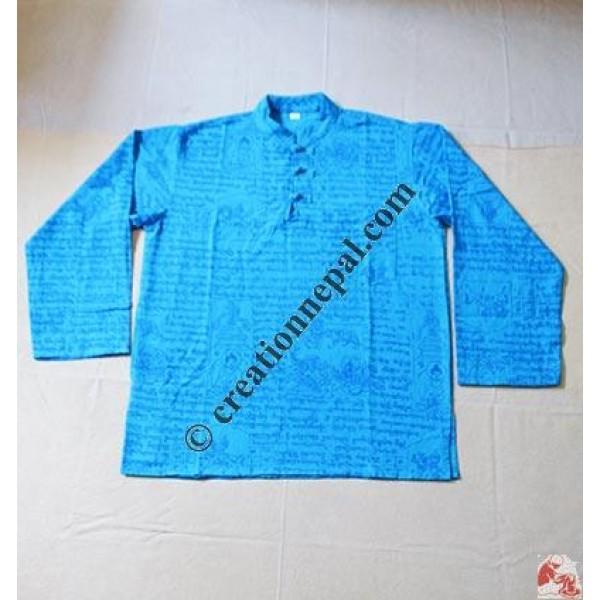 Tibetan Mantras printed cotton shirt