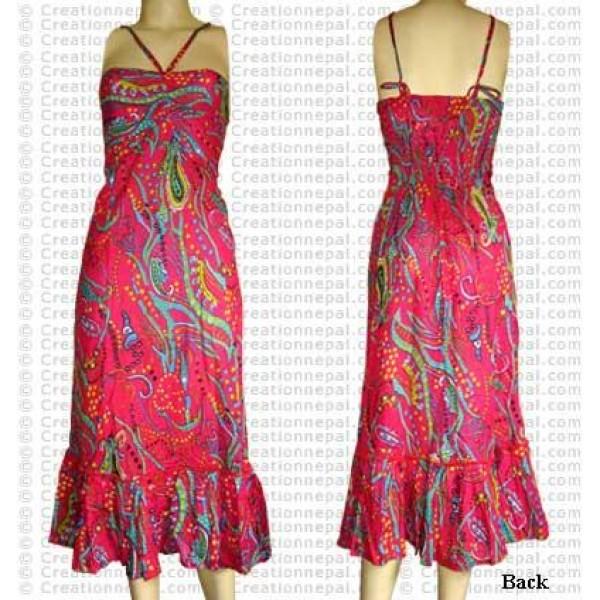 Printed cotton sleeveless dress