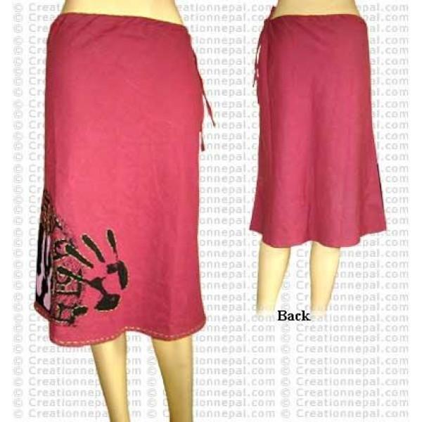 Crochet over palms print cotton skirt