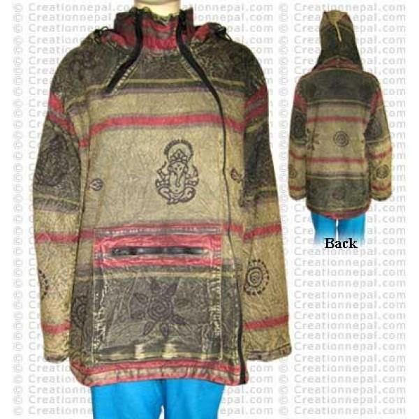 Cross zipper cotton stone wash jacket