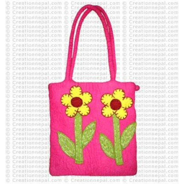 Two Flowers-stem felt bag