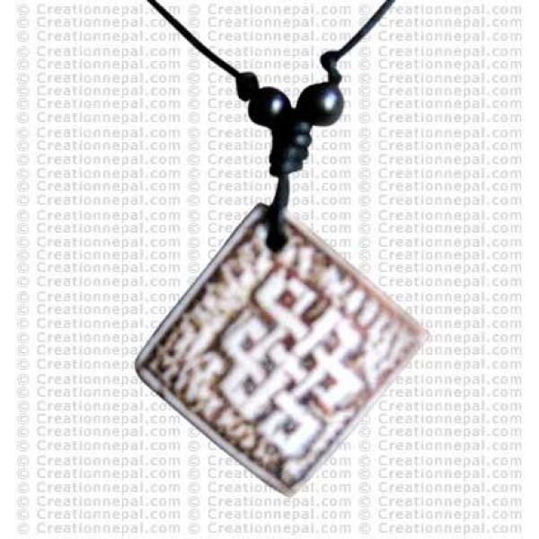 Square Endless knot art amulet