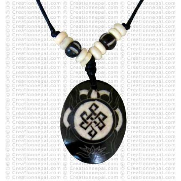 Oval Endless knot art amulet