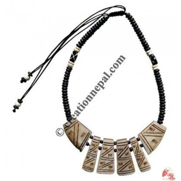 Beads & carved bone necklace