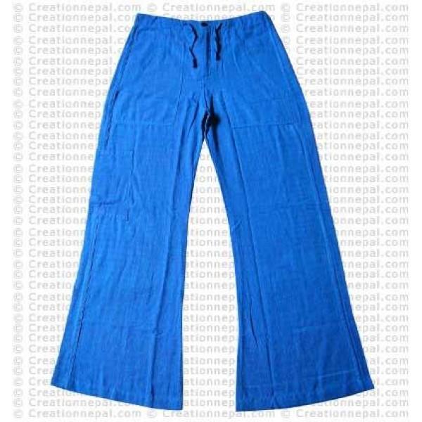 Cotton ladies trouser-turquoise