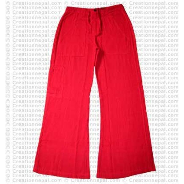 Cotton ladies trouser-red