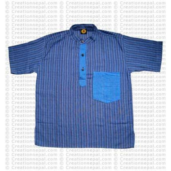 Short sleeves patch pocket adult shirt- blue