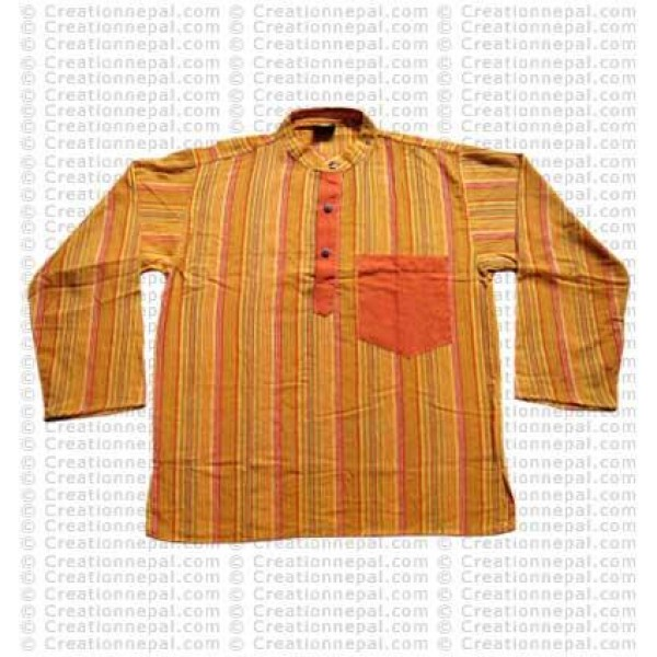 Long sleeves patch pocket adult shirt-yellow