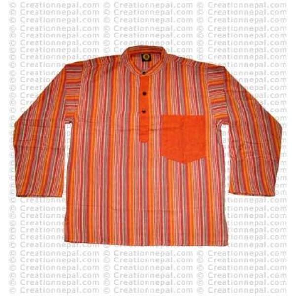 Long sleeves patch pocket adult shirt-orange