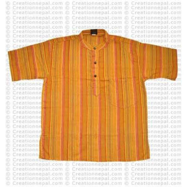 Stripes pocket adult shirt-yellow