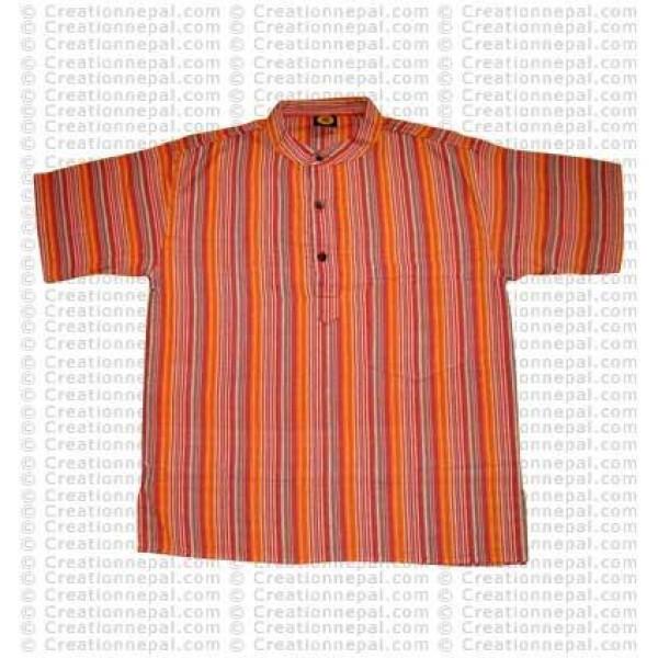 Stripes pocket adult shirt-orange