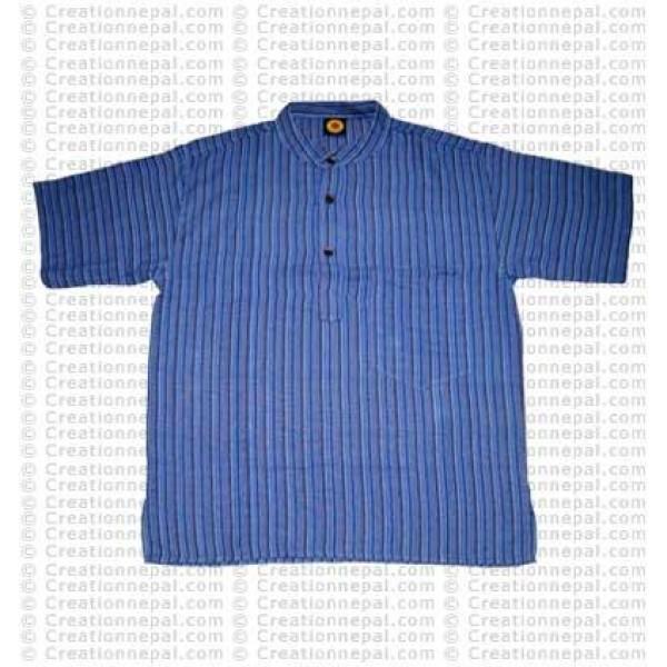 Stripes pocket adult shirt- blue