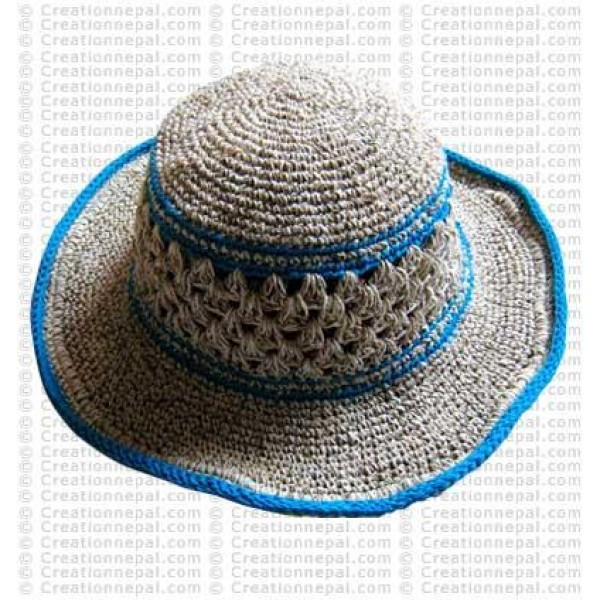 Hemp + cotton wire round hat2