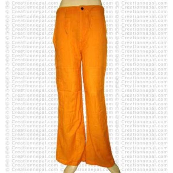 Cotton ladies trouser-yellow