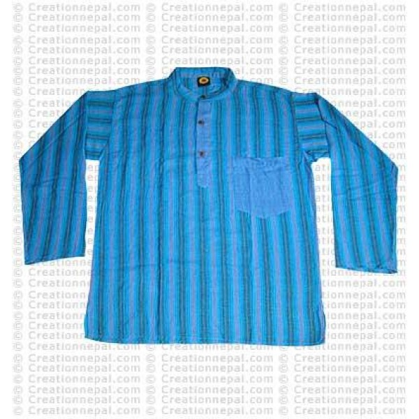 Long sleeves patch pocket adult shirt-Turquoise