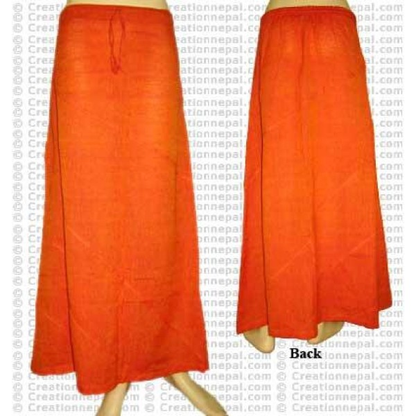 Plain color joined skirt-Orange