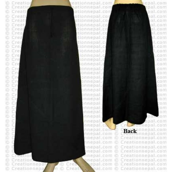 Plain color joined skirt-Black