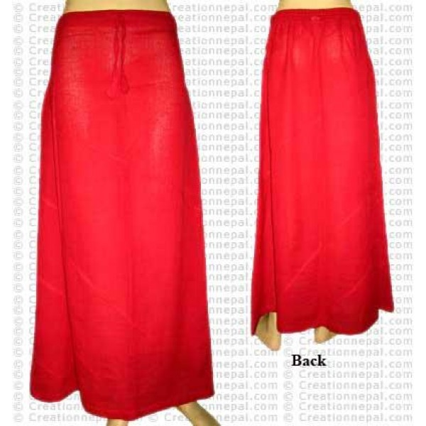 Plain color joined skirt-Red