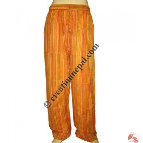 Orange stripes pieces joined trouser