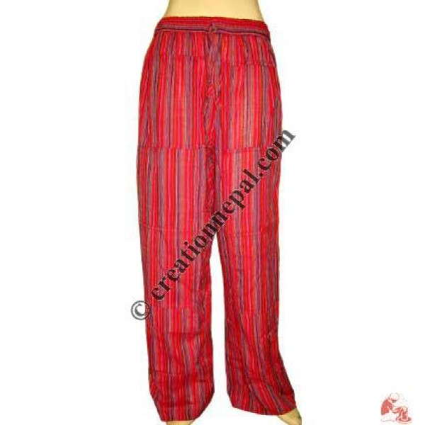 Red stripes pieces joined trouser