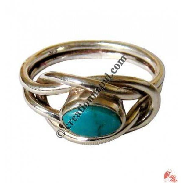 Wire knot silver finger ring1