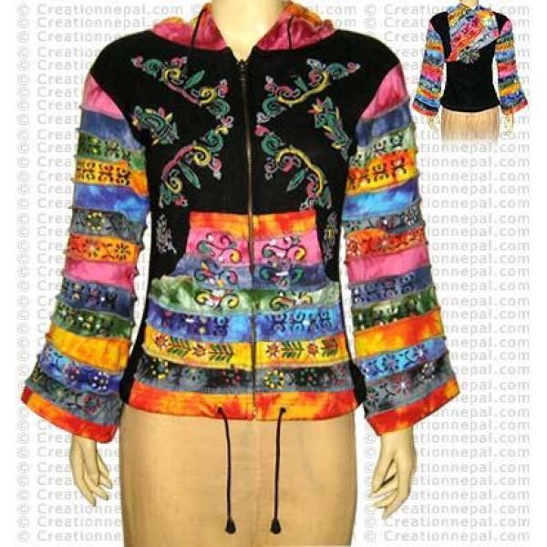 Stripes sleeves and pocket hooded jacket