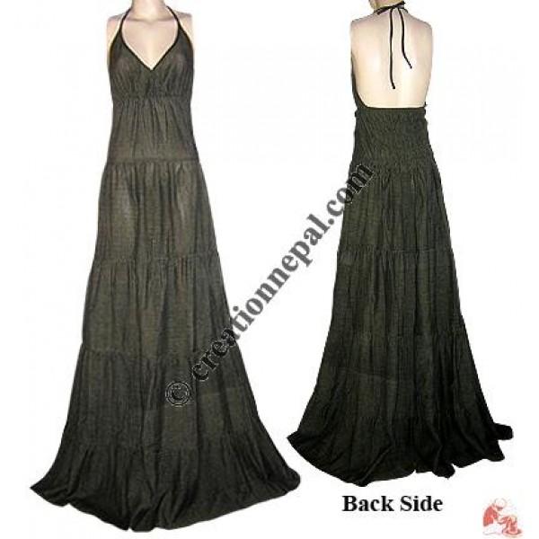 Cotton long halter dress